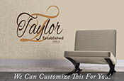 Taylor established in year Custom family logo name in Cursive - a wall deocr vinyl lettering decal sticker 2182