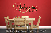 Custom family name The Johnson Family flourish wall decor vinyl lettering words 2183