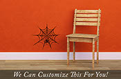 Spider web with spider for halloween - a wall decor vinyl decal graphic sticker 2198