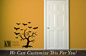 Withered tree with flying bats for halloween home decor vinyl decal 2203