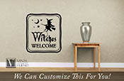 Witches Welcome Halloween vinyl decor sign for your homes decor with moon and stars 2205