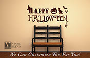 Happy Halloween with bats pumpkin cat spider and witches hat vinyl lettering decal for home decor 2206