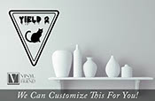 Yield 2 cat halloween vinyl decal sign for your homes decor 2212