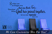so they are no longer two but one flesh therefor what god has joined together let no one separate bible wall vinyl lettering quote 2259