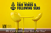 Fair winds and following seas greeting for navy or seaman with anchor and life saver - A wall decor vinyl lettering decal word quote 2274