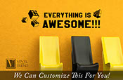 Everything is awesome wall decor vinyl lettering decal style 2 for geeks, nerds and kids bedroom brick builder theme 2282