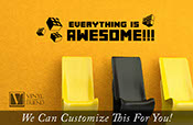 Everything is awesome wall decor vinyl lettering decal for geeks, nerds and kids bedroom brick builder block theme 2284
