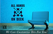All hands on deck with oars and life saver a wall decor vinyl decal lettering sticker graphic word 2287
