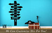 Pirate Decor Direction sign on wood planks for pirate and island theme room a vinyl decal graphic art Docks Tavern Cityhall and Cove 2316