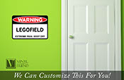 WARNING Legofield - extreme pain - keep off solid acrylic back sign to put on walls for brick builders 2318