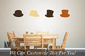 Top hats Set of 4 different hip and stylish gentlemens hats a vinyl decal sticker art for jars, glass and wall decor 2344