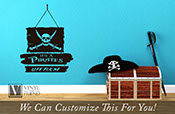 Pirate Decor It's a pirates life for me wood planks and skull with swords - wall decor vinyl lettering decal words sticker graphic art 2358