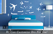 Commercial jet pack set of 35 jet airplanes - an aviation wall decor vinyl decal graphic sticker 2368