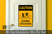 CAUTION Zombie crossing road and street sign solid back caution sign for halloween wall decor vinyl decal graphic 2407