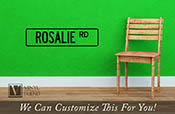 Street Sign vinyl decal wall decor custom name with border novelty wall decor decal - 2420