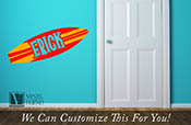 Surf board custom name Eric strips 2 color - wall decor vinyl decal lettering beach and nautical theme 2427