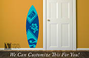Surf board #2 custom name with hibiscus flower - wall decor vinyl decal lettering beach and nautical theme 2430