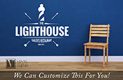 Custom name wall decor The Johnsons sailors restaurant since 1973 with lighthouse nautical theme vinyl decal lettering words 2453