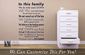In this family we do toilet seats down we yell we clean we fart we we laugh.... Home wall decor vinyl decal lettering 2465