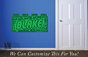 Brick builder vinyl Decal custom name brick word cloud collage - a wall decor vinyl decal custom digital print graphic 2473