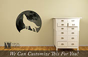 Wolf howling at the moon - wall decor vinyl decal silhouette digital print on transparent vinyl to match any wall color 2477
