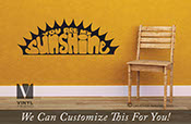 you are my sunshine crescent sun for a bedroom wall vinyl lettering decal graphic for your home b2116