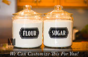 Flour and Sugar 1 each vinyl decal stickers for kitchen container jars small to Xlarge sizes b2307