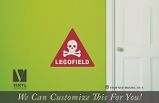LEGOFIELD danger sign with skull and bones - brick wall decal vinyl graphic printed 2321