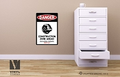 DANGER Death star construction zone vinyl decal sign digital print wall or door decor 2502