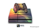 E-SKINS Play Station 4 (ps4) gaming console skin cloud streaks red and blue decals