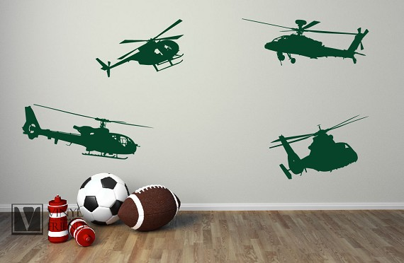 military Helicopters Set of 4 silhouette wall decor vinyl decal ...
