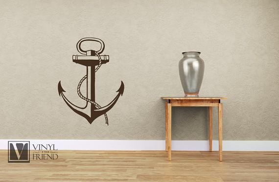 Boat Anchor nautical vinyl wall decor art for a Sea man navy ship or ...
