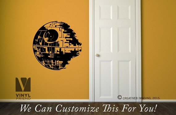 death star wall decor vinyl decal sticker - star wars theme rooms and sci-fi geeks 2494