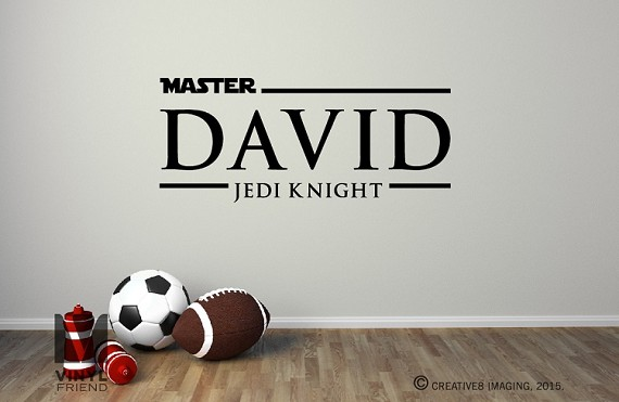 Master David Jedi Knight custom name wall decor decal - star wars title themed sticker 2496