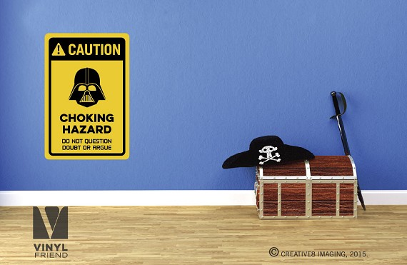 CAUTION coking hazard darth vader vinyl decal sign digital print 2501
