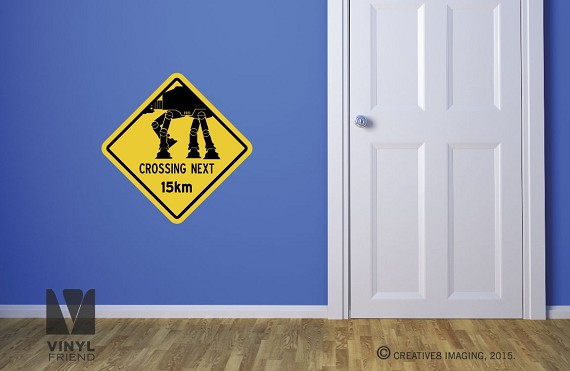 AT AT Crossing NEXT 15km star wars themed road sign vinyl decal digital print wall or door decor 2509