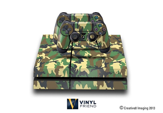 E-SKINS Play Station 4 (ps4) gaming console skin military camo pattern traditional green and brown decals
