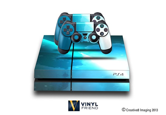 E-SKINS Play Station 4 (ps4) gaming console skin light streak 2 blue sky decals