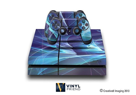 E-SKINS Play Station 4 (ps4) gaming console skin light streaks blue decals