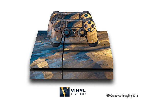 E-SKINS Play Station 4 (ps4) gaming console skin metal grunge polygon pattern 2 decals
