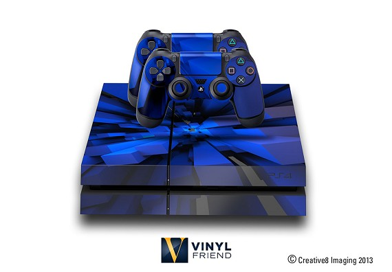 E-SKINS Play Station 4 (ps4) gaming console skin blue 3d tower rods decals