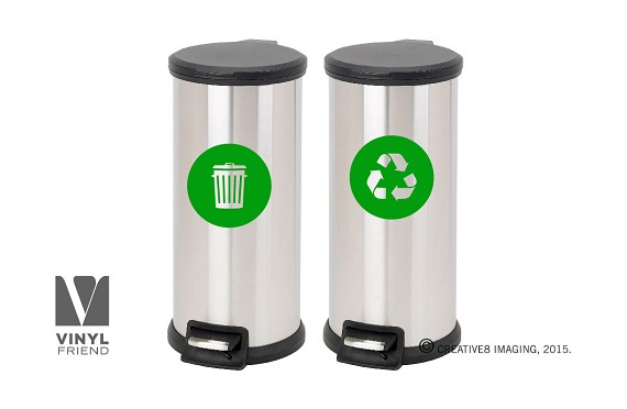 Recycle and trash logo symbol style 2 for trash cans containers and walls - vinyl decal sticker graphic art 2552