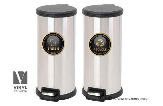 Recycle and trash logo symbol elegant GOLD or SILVER look for trash cans containers and walls - vinyl decal sticker 2554