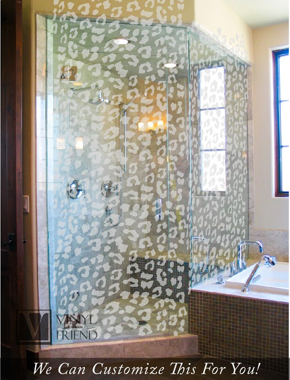 Leopard spot bathroom shower pattern in a dusted glass vinyl for glass and windows a 80 ...