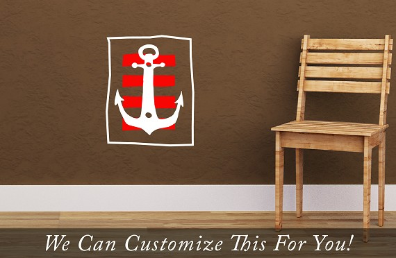 Pirate Decor A boat anchor with strips antiqued and stylized for you home or bedroom wall vinyl decal art 2136