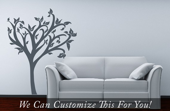 wall decor decal with leaves - a wall vinyl decor graphic art for ...