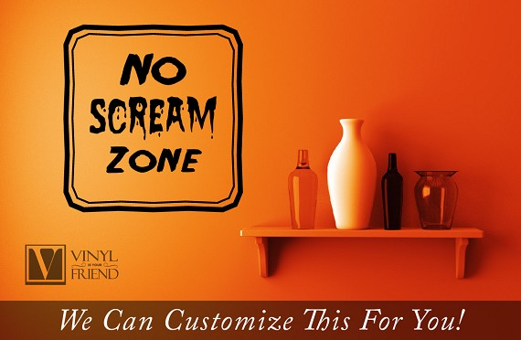 No screaming zone halloween vinyl lettering decal for your for Home decor zone glasgow