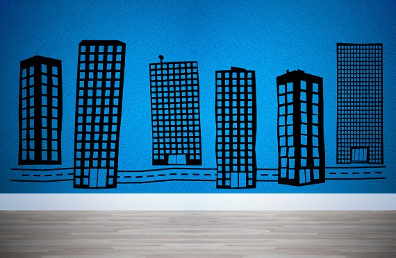 City Towers And Road 6 Buildings A Street For Wall Decor Extra Large Customize Layout Of