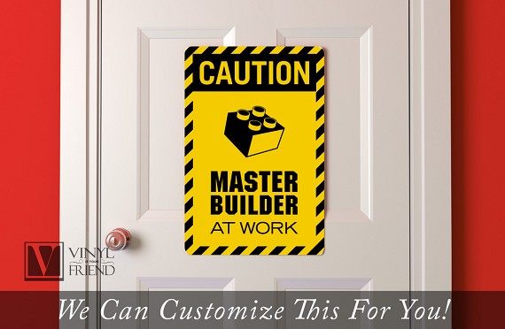 CAUTION Master Builder at work brick builder wall decor acrylic back ...