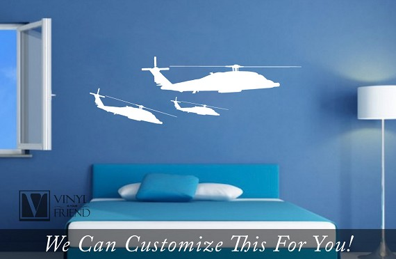 Apache Helicopter military fighter silhouette graphic - a wall decor ...